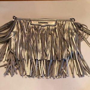 Rebecca Minkoff  fringe side body bag in silver.